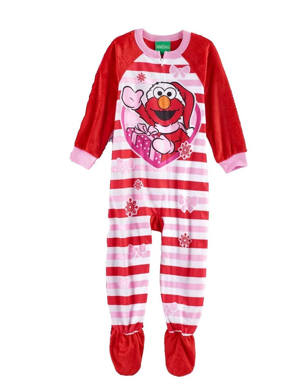 2515d0cc81 Get Quotations · Sesame Street Santa Elmo Toddler Girl s Fleece Footed  Christmas Pajama Sleeper