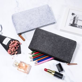 Least MOQ Free Sample Custom Print Logo / Size Promotion Pen Holder Smiggle Felt Pencil Case With Zipper