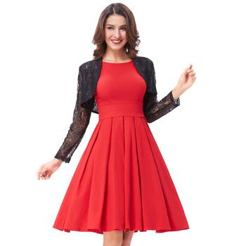 Belle Poque Red Color Pin Up Vestidos Retro Casual Party Robe 50s ...