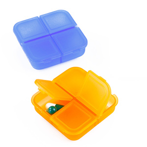 Promotional Printed Logo mini plastic 4 case pill dispenser
