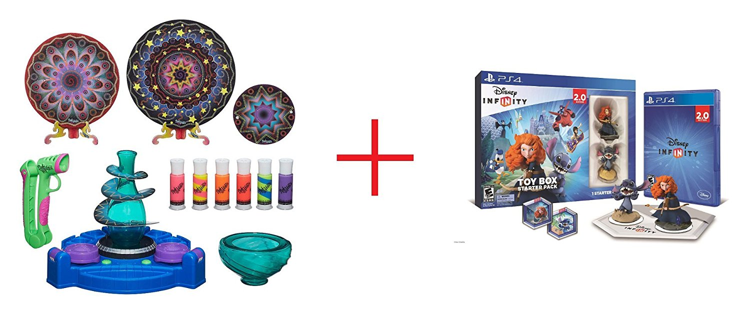 DohVinci Spotlight Spin Studio and Disney Infinity (2.0 Edition) Toy Box Starter Pack featuring Disney Originals for Sony PS4 - Bundle