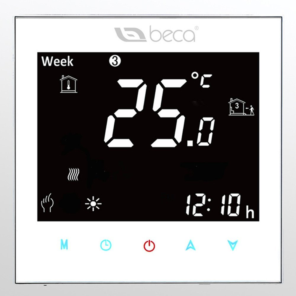 Electric Heating Thermostat,BECA 95~240VAC Data Memory LCD Digital Touch Screen 5+2 six periods Weekly Programmable 16A Underfloor Heating Electric Heating Room Thermostat (White)