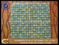 Blue yellow green marble mosaic tiles , natural marble mosaic , ming green marble tile