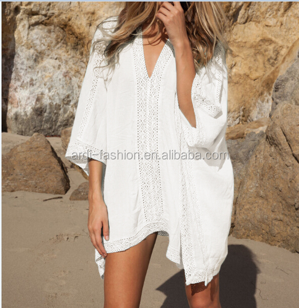 2017 Hot Sell V neck White Blue Ladies Beach Cover Ups
