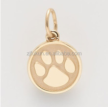 18k gold plated smaller size paw print stamped charm for bracelet, paw print pendant for dog charm