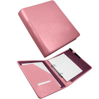 Smooth Pink Leather 2 Ring A5 Binder Leather Pocket File Folder