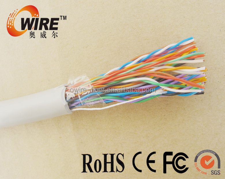 23AWG Bare Copper Conductor cat6 2/5/12/25 pair telephone cable For Voice Data System