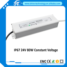 2017 HOT!!!220v single output IP67 LED power supply 80w 3.33a Aluminium LED driver Mean Well quality power supplies(SHA-8024)