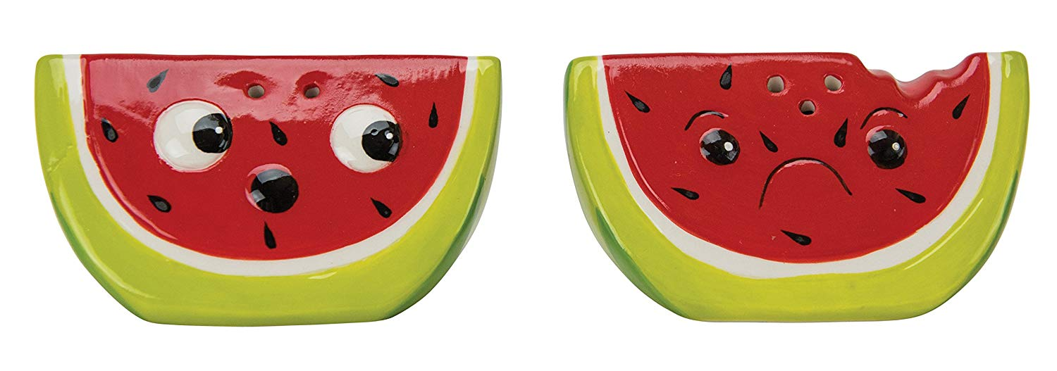 Boston Warehouse Salt & Pepper Shakers, Watermelon Collection, Hand Painted Ceramic