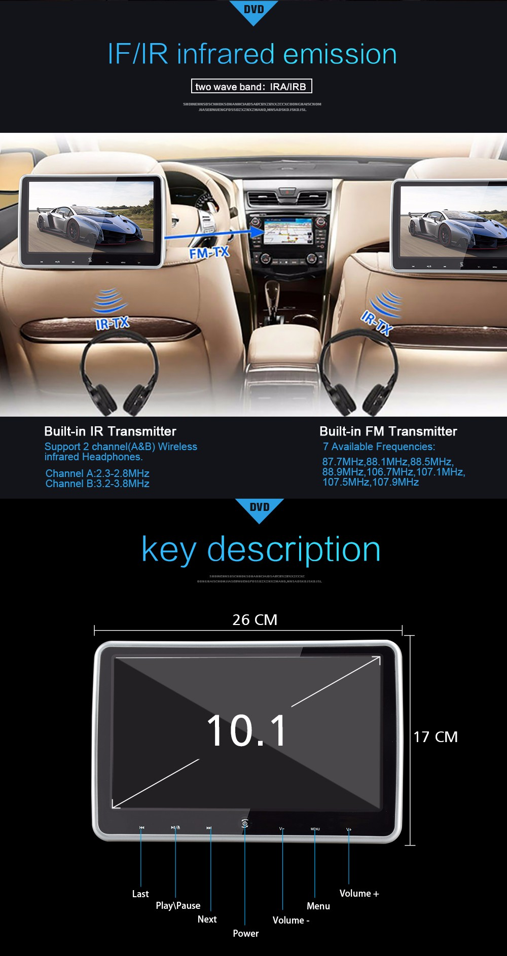 10.1inch Universal Replacement Headrest Car Monitor with sd usb fm transmitter