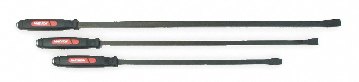 "12"", 17"", 25"" Hardened and Tempered Steel Pry Bar Set; Number of Pieces: 3"
