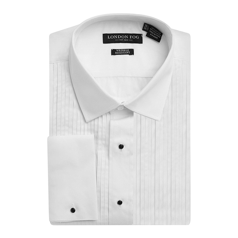 Pandapang Mens French Cuff Tuxedo Shirt Wing Collar 1//4 Pleat Shirt