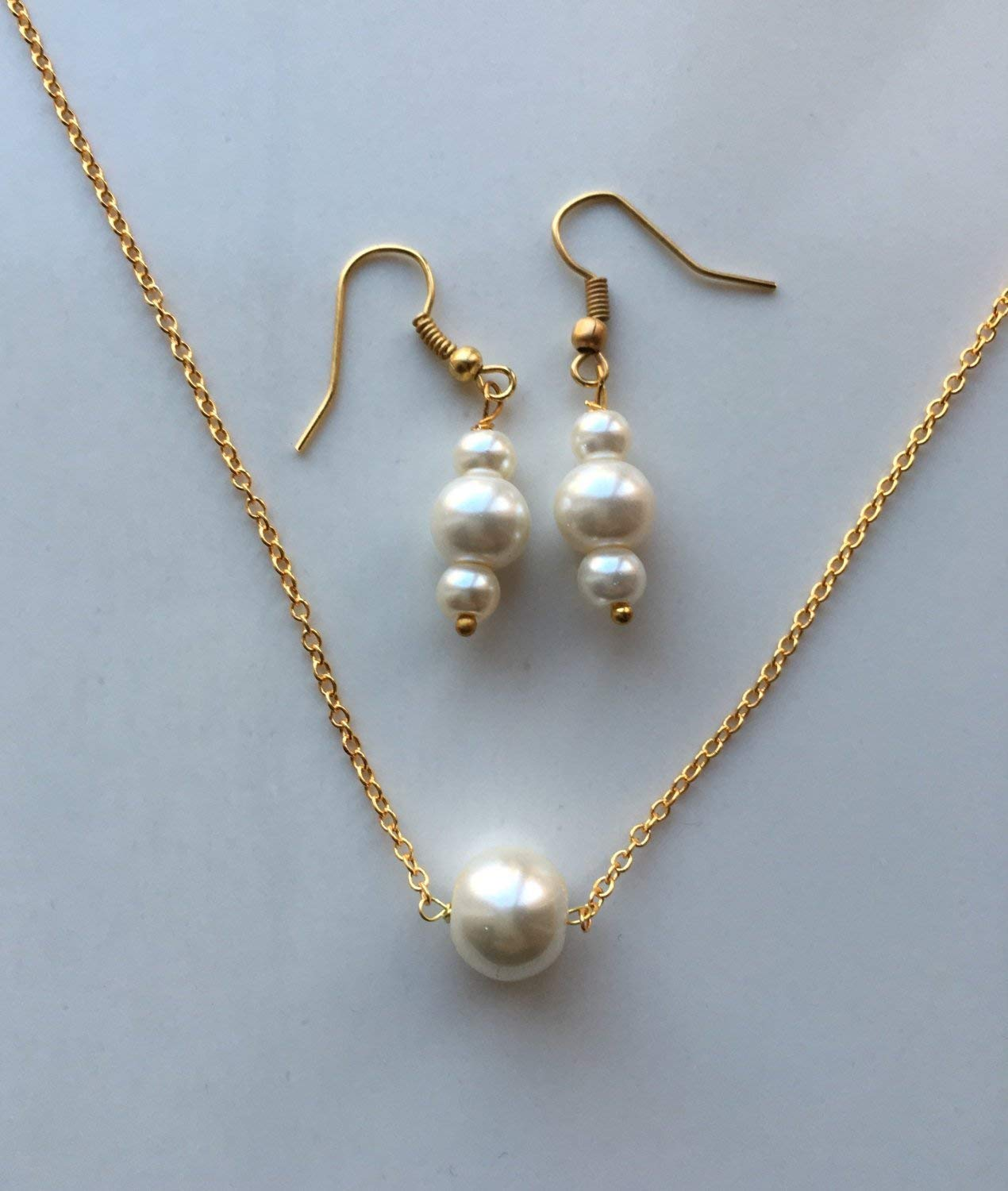 Ivory Pearl Necklace and Earring Set /Gold plated jewelry-Bridesmaid Jewelry Unique Gift Set/ Bridesmaid jewelry set of 4,5,6,7,8,9,10