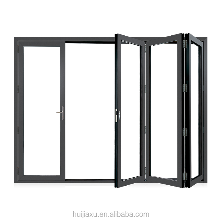 Customized insulated glass aluminum accordion doors sound proof bi fold doors