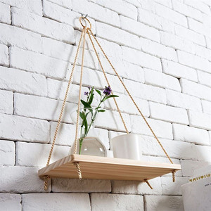 1 to 3 Tier Wood Hanging Shelf Wall Swing Jute Rope Organizer Rack Storage Shelves