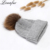 Wholesale winter knitted real raccoon fur pom pom hats for women