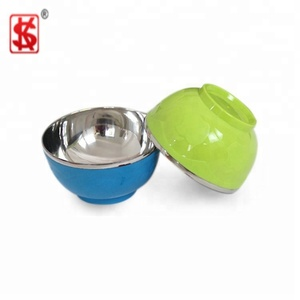 Double Wall Colorful Stainless Steel With High quality Kids Plastic Bowl