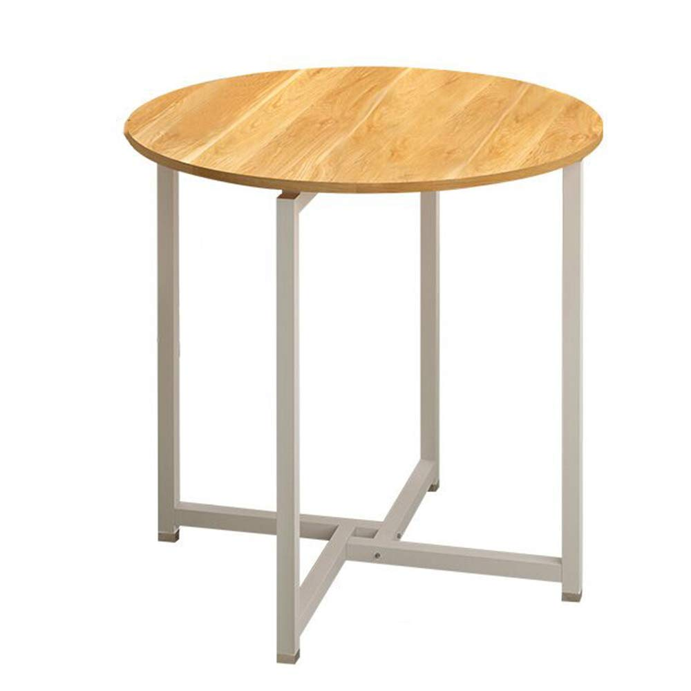 Folding Table Chunlan Dining Table Steel-Wood Structure Small Round Table Negotiation Table (Color : Red Maple Wood Color)