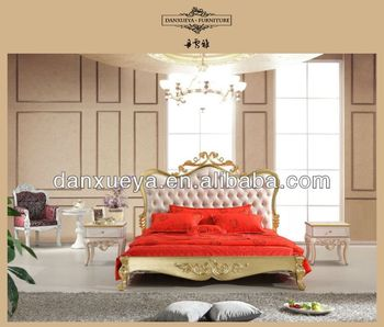 Indian Wedding Furniture,Gold Gilded White Bed,Queen Size Bed ...