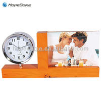 (W2906)wholesale wooden photo frame with clock fantastic wooden art craft