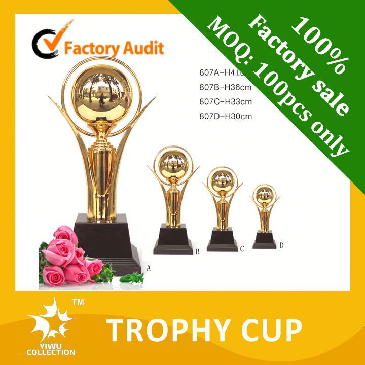 earth awards trophies,star motion trophies with wooden base,24k gold metal award