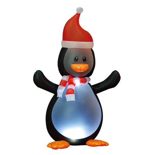 inflatable penguin standing on the ground wave its hand for christmas door decoration