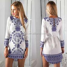 In stock spring new casual digital printing long-sleeved dress