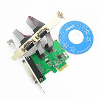 Combo Card PCI-E TO DB9 RS232 Dual Serial Ports + 1 DB25 Parallel Port