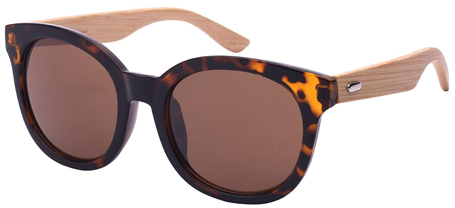 77c03d3856 Get Quotations · Edge I-Wear Round Horned Rim Wooden Bamboo Sunglasses  w Solid Lenses by