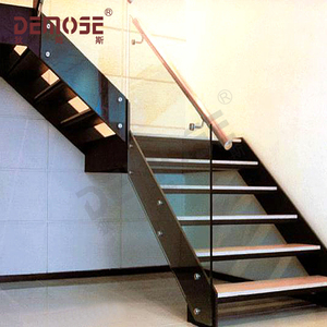 Steel wood staircase office mall stairs factory direct steel wood double beam ladder