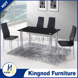 restaurant furniture india 2015 tianjin cheap modern high quality temper glass stainless steel dinig table set DT028C016