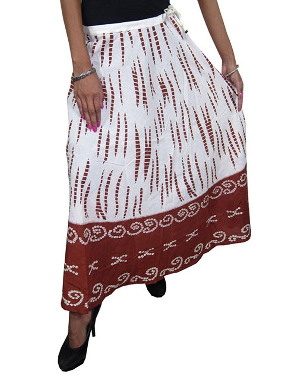 bd255d3c4b Get Quotations · Mogul Interior Peasant Skirt White Brown Printed Boho  Cotton Summer Skirts