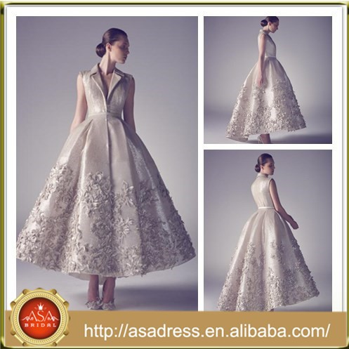 ASL05 Hot Sale Appliqued Bridal Gowns Ball Gown Gothic Ankle Length China Custom Made Wedding Dress