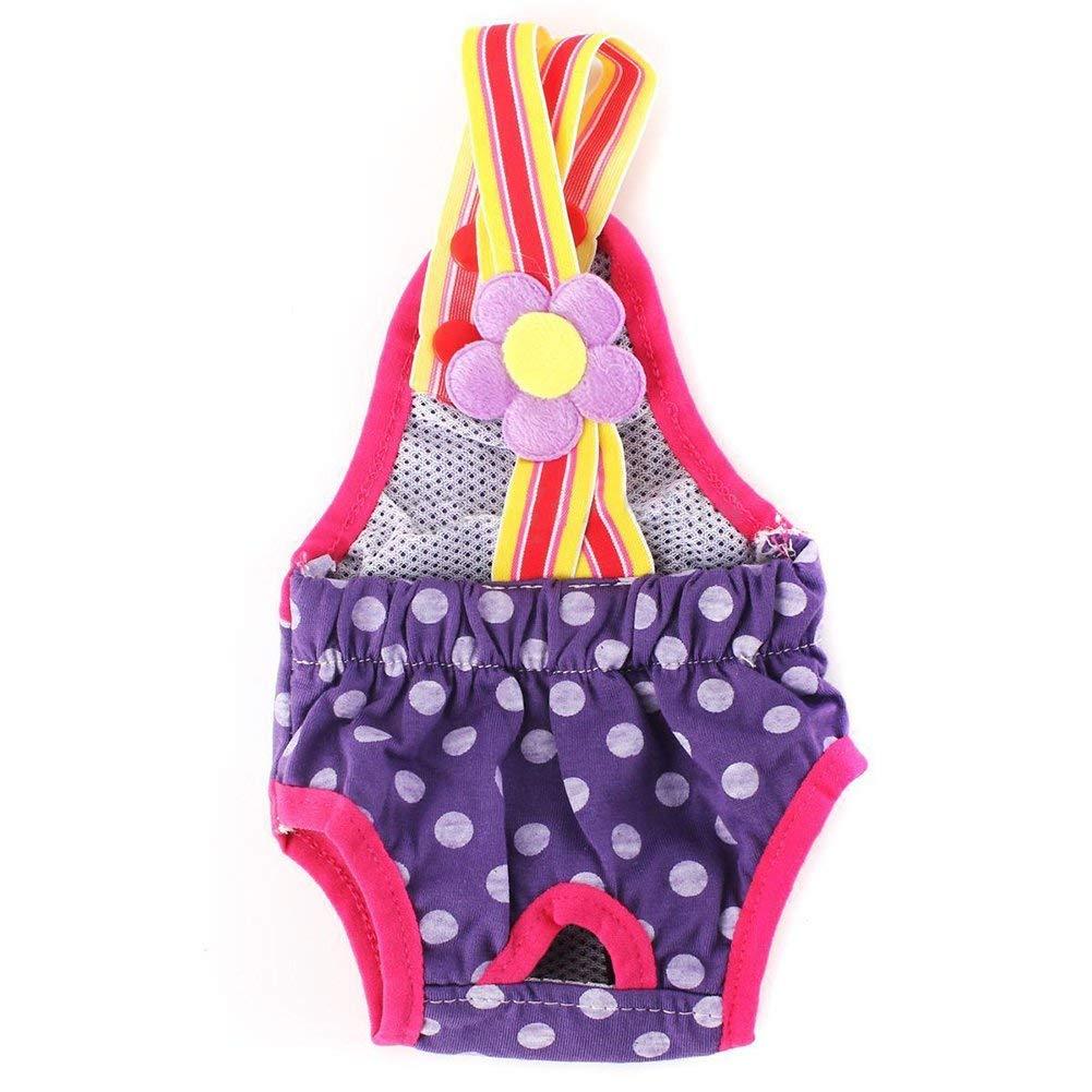SODIAL(R) M Female Pet Dog Pant Bitch Season Menstrual Sanitary Nappy Diaper purple