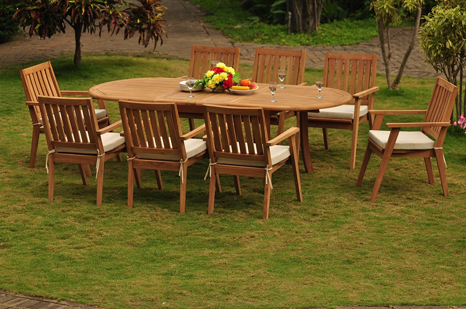 """TeakStation 8 Seater Grade-A Teak Wood 9 Pc Dining Set: 94"""" Double Extension Dining Oval Table And 8 Palmer Stacking Arm / Captain Chairs #TSDSPMr"""