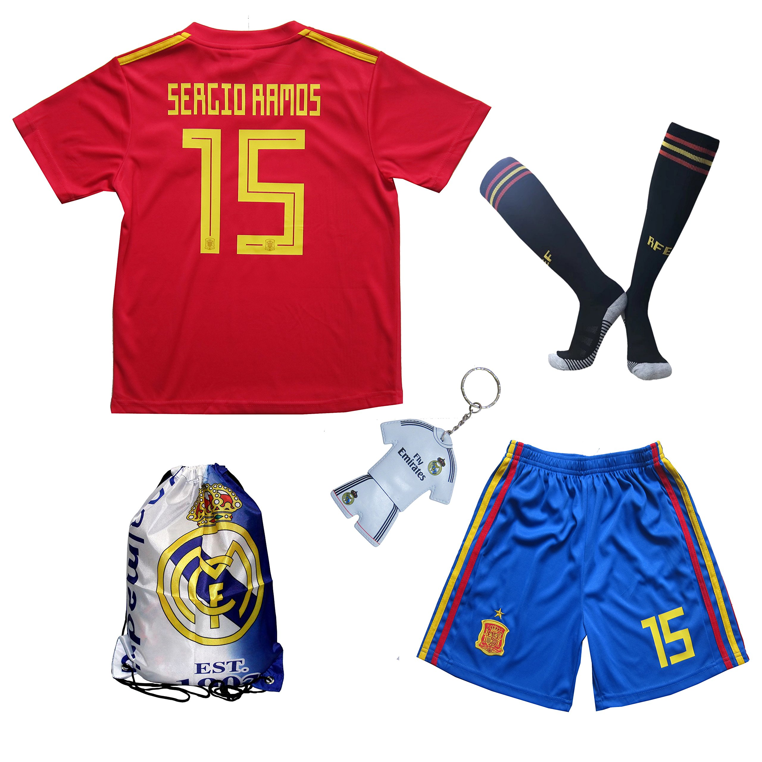 new styles 28dec fc9a5 Buy KID BOX 2018 Spain SERGIO RAMOS #15 Home Soccer Futbol ...