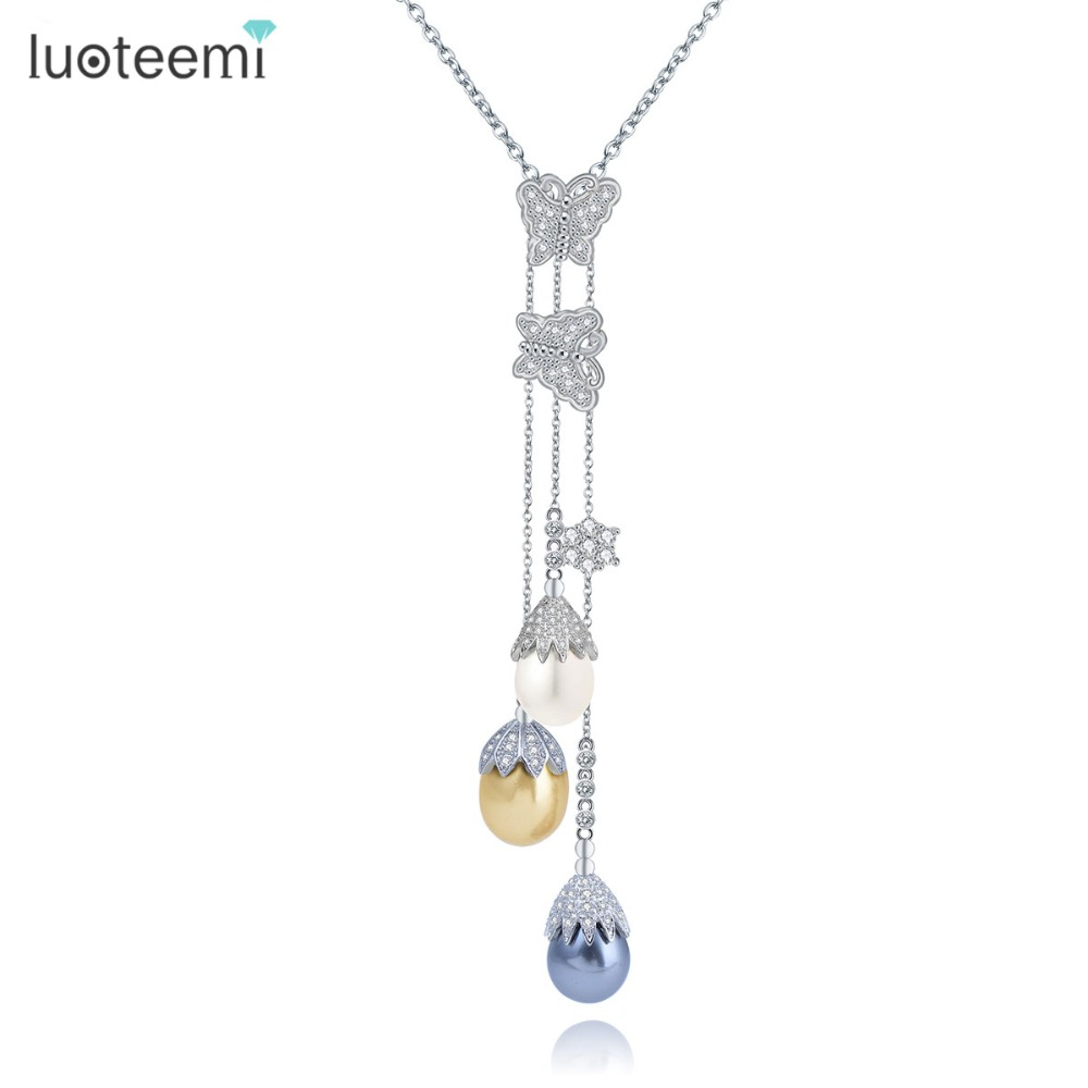 LUOTEEMI New Fashion CZ Crystal Butterfly With Multicolor Waterdrop Pearls Drop Tassel Long Chain Winter Sweater Necklace