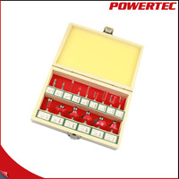 POWERTEC 15PC Router Bit Set Round Beading Over Router Bit