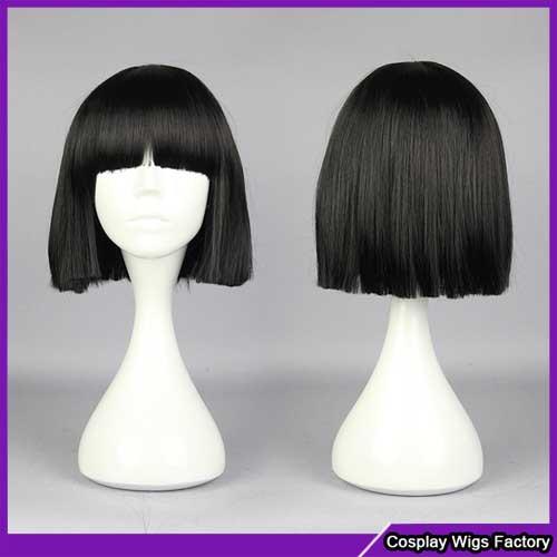 30 см короткие черный аниме косплей парики волос с челкой emotionless милая девушка gugure! Kokkuri-san Kohina Ichimatsu косплей парик волос