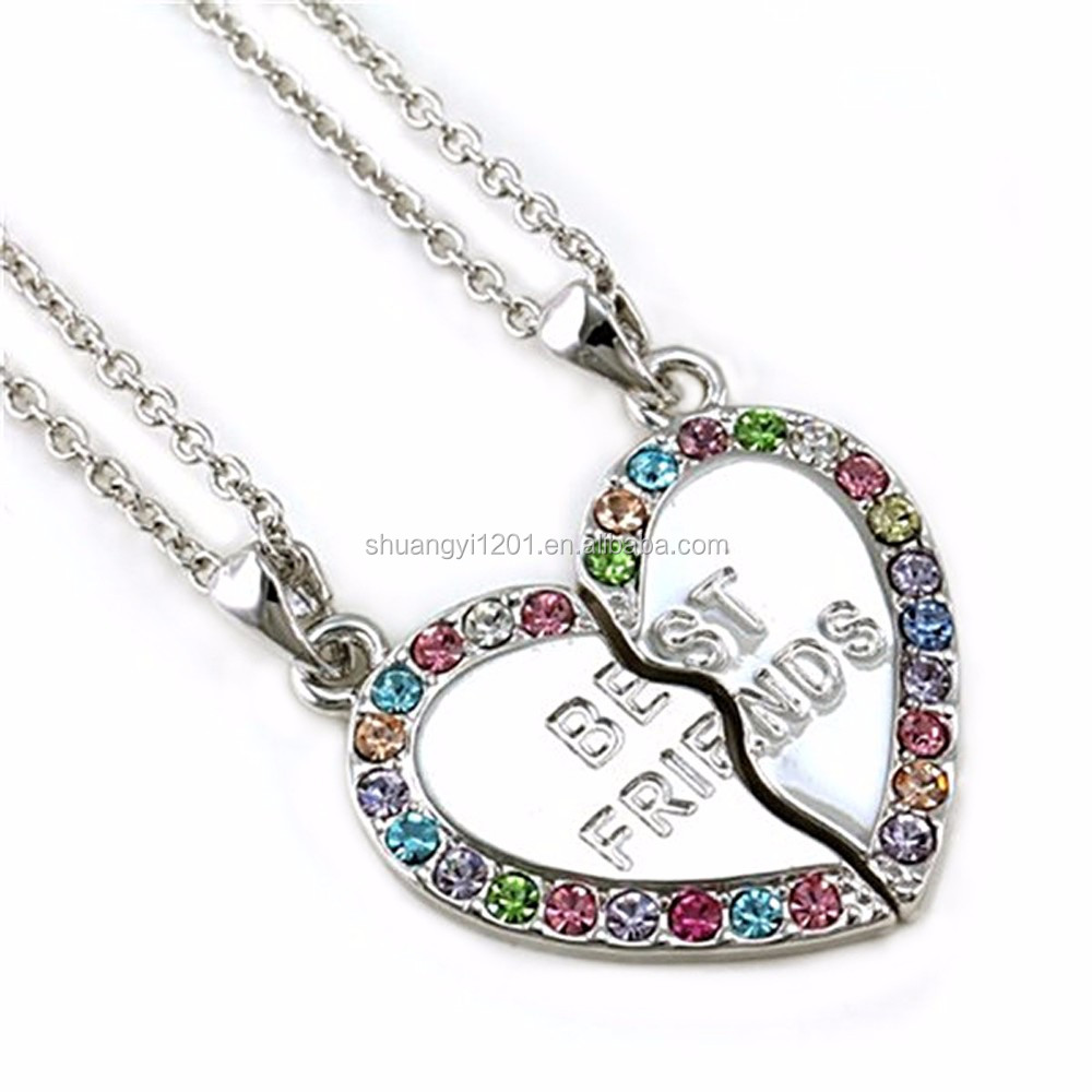 Fashion Friendship Jewelry Necklace Wholesale Best Friends Forever BFF Heart Necklaces For Couple