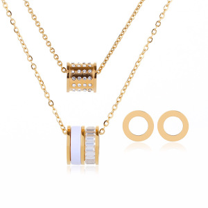 Fashion Female Accessories Ring Necklace Jewelry Designer Gold Pendant Sets
