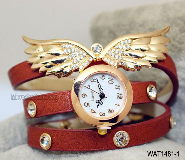Women wing charms & diamond fashion leather watch
