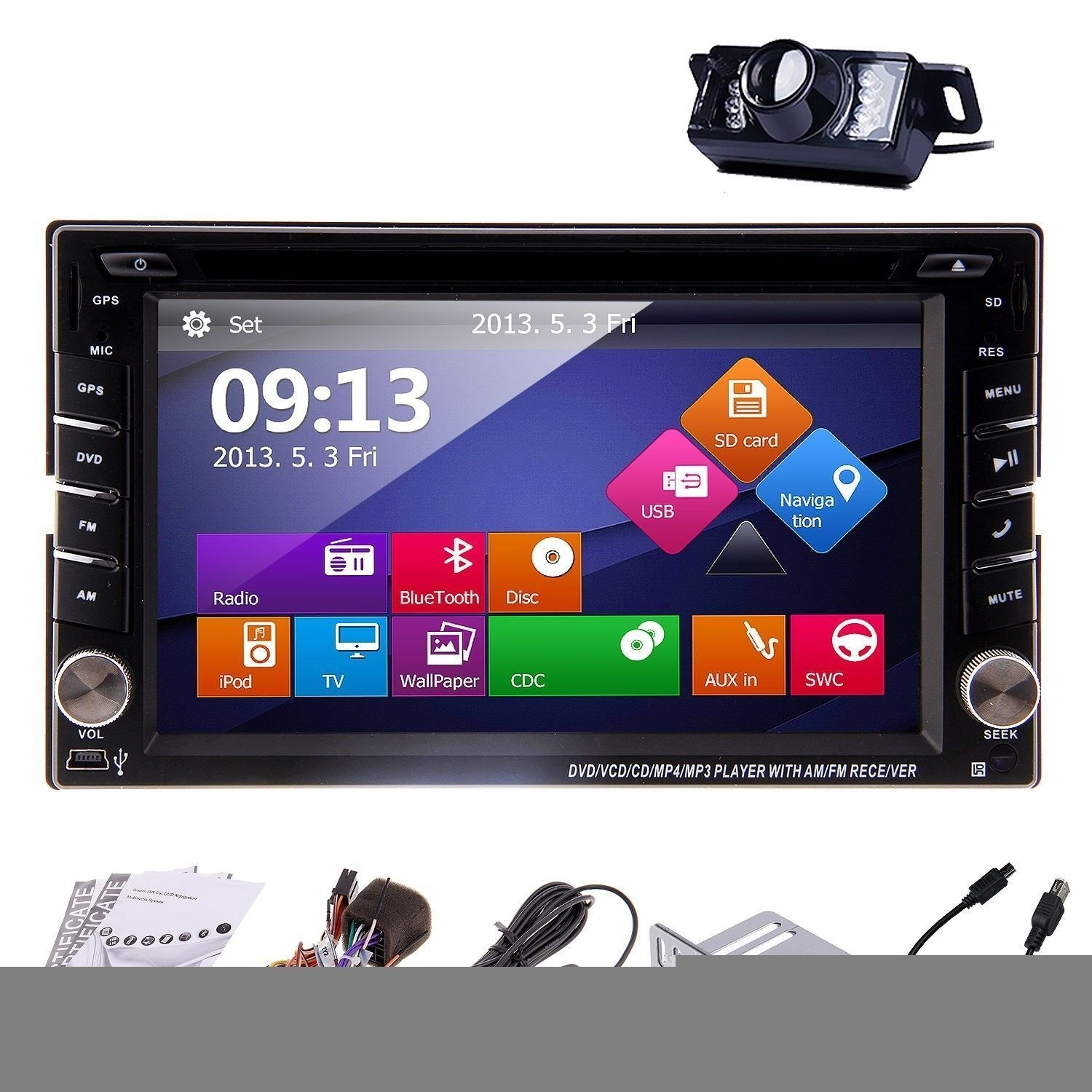 Christmas Sale!!! Player Pupug Rear Camera Included Receiver 2015 New Model 6.2 Inch Double FM/AM 2 DIN In Dash Car DVD Autoradio Player Touch screen LCD Monitor Car with DVD CD MP3 MP4 USB VC