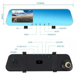 "2019 Hot selling1080P FULL 4.3"" lcd screen camera dual lens mirror dash cam car dvr rearview mirror two camera"