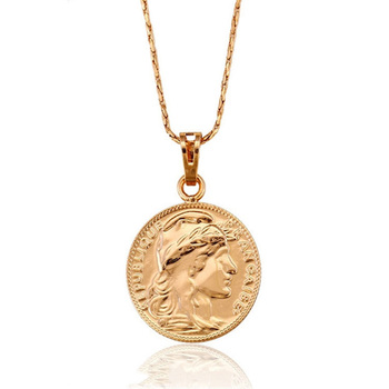 31922 custom pendant necklace for jewelry making, Christmas gift rose gold jewelry coin pendant