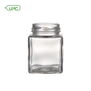 UPC brand design size wide mouth glass honey jar with wood lid