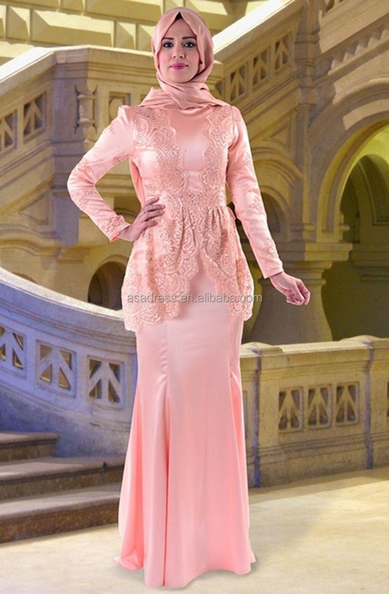 Ate14 mode 4 couleurs bleu Royal élégant à manches longues robe de soirée  Hijab pour les