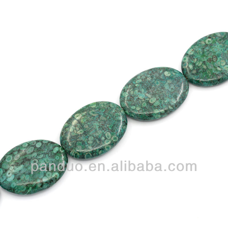 Synthetic Agate Gemstone Loose Beads Oval Malachite green Dyed 4x3cm,39.5cm long,1 Strand(approx 10PCs),8seasons