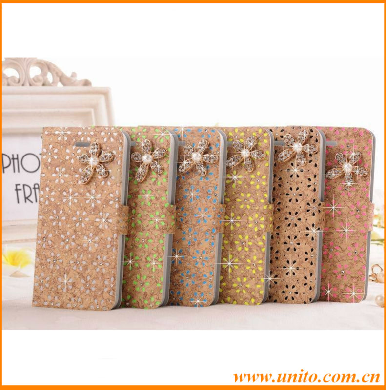 hot new product bling diamond hollow flower flip leather case for Apple iPhone 4 4s,Alibaba wholesale cell phone cover case