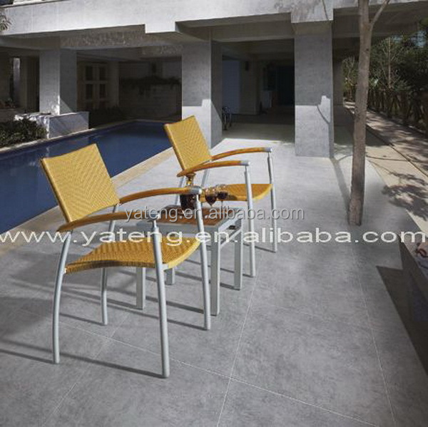 Outdoor garden furniture aluminum rattan leisure chair with teak top coffee table